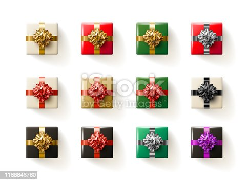 Top view gift box collection. Vector illustration. Elements are layered separately in vector file.