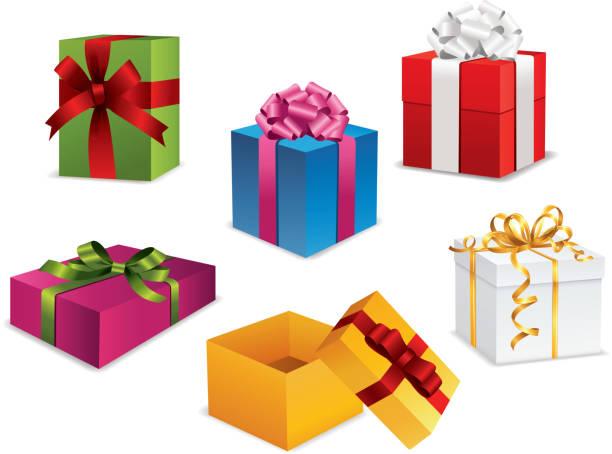 geschenk box collection - geburtstagsgeschenk stock-grafiken, -clipart, -cartoons und -symbole