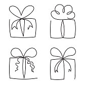 Gift box continuous line vector illustration set - various hand drawn editable outline present packages.