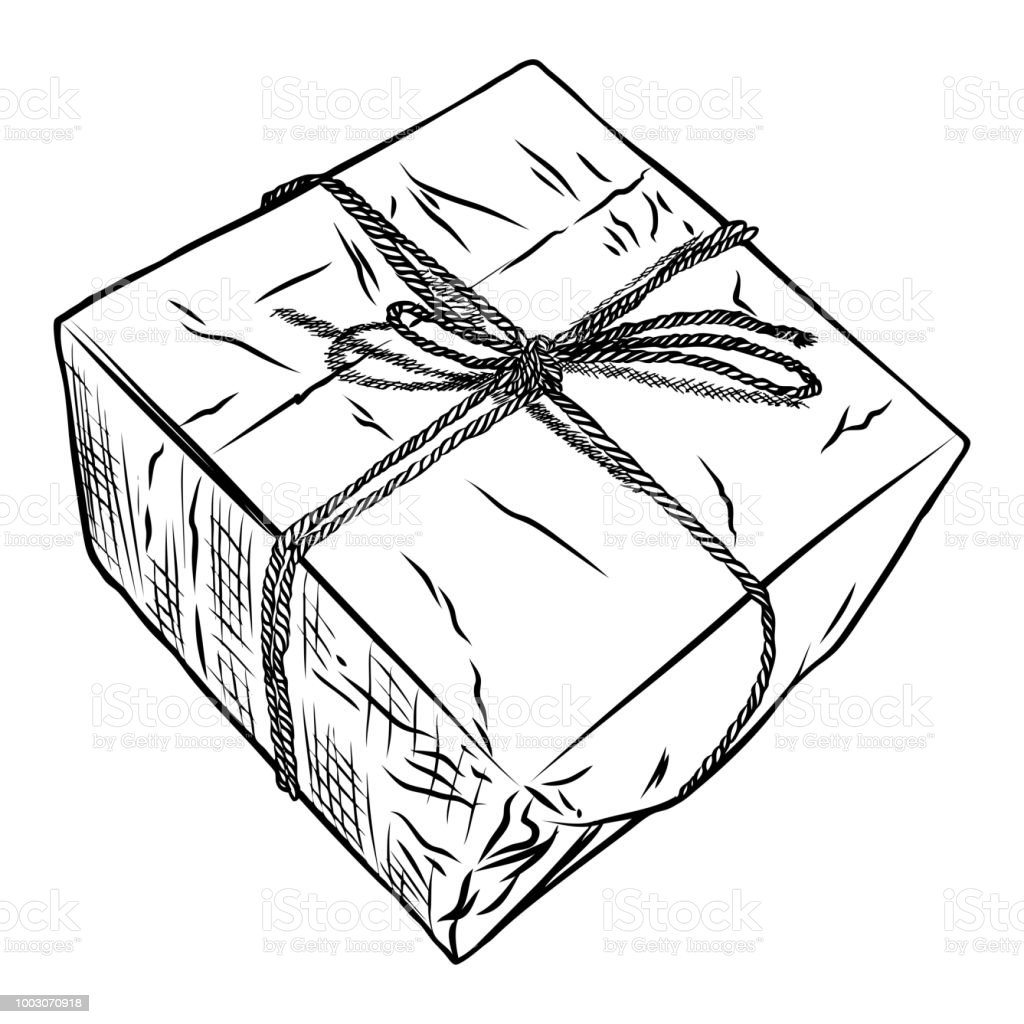 Gift box doodle sketch. Wedding, birthday, black Friday concept. Wrapped box for Boxing, New year,  Christmas idea. Design of Valentine or anniversary day online store, shopping concept. Vector. royalty-free gift box doodle sketch wedding birthday black friday concept wrapped box for boxing new year christmas idea design of valentine or anniversary day online store shopping concept vector stock vector art & more images of above