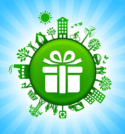 Gift Box Environment Green Button Background on Blue Sky