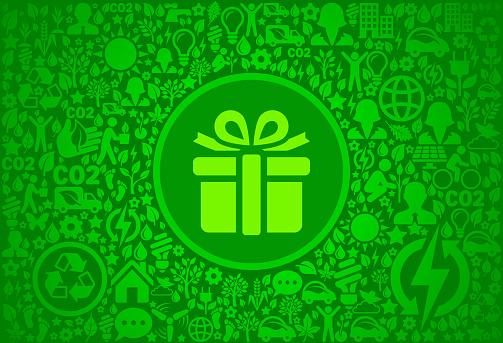 Gift Box Environment Green Vector Icon Pattern