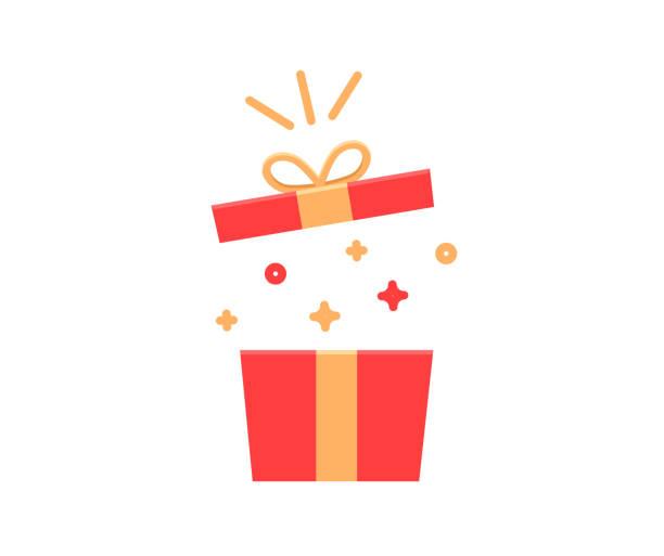 pudełko na prezenty eksploduje blaskami i konfetti. wektor płaska ilustracja ikony na urodziny, boże narodzenie, promocje, konkursy, marketing, itp - gift stock illustrations