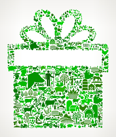 Gift Box Farming and Agriculture Green Icon Pattern