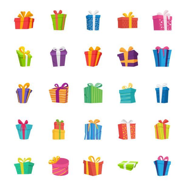stockillustraties, clipart, cartoons en iconen met geschenk box platte vector icons set - christmas present
