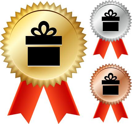 Gift Box Gold Medal Prize Ribbons