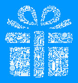 Gift Box  Health and Wellness Icon Set Blue Background . This vector graphic composition features the main object composed of health and wellness icons. The icons vary in size. The vector icons are in white color and form a seamless pattern to form the object. The background is blue. The icons include such popular healthcare and wellness icons as fitness, water, people exercising, massage, stretching, yoga and many more. You can use this entire composition or each icon can also be used separately and as not part of the icon set.