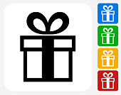 Gift Box Icon Flat Graphic Design