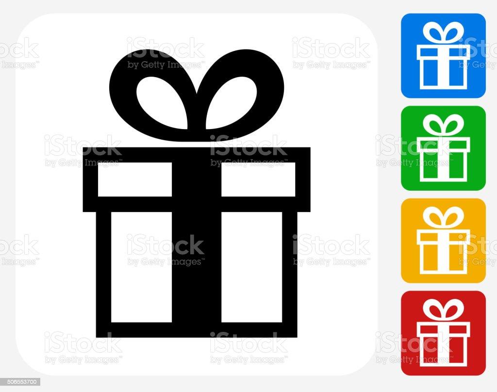 Gift Box Icon Flat Graphic Design vector art illustration