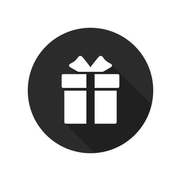 ikona pudełka prezentowego w kółku. obecny symbol. okrągły przycisk z długim cieniem. wektor - gift stock illustrations