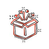 Gift box icon in comic style. Magic case vector cartoon illustration on white isolated background. Present business concept splash effect.
