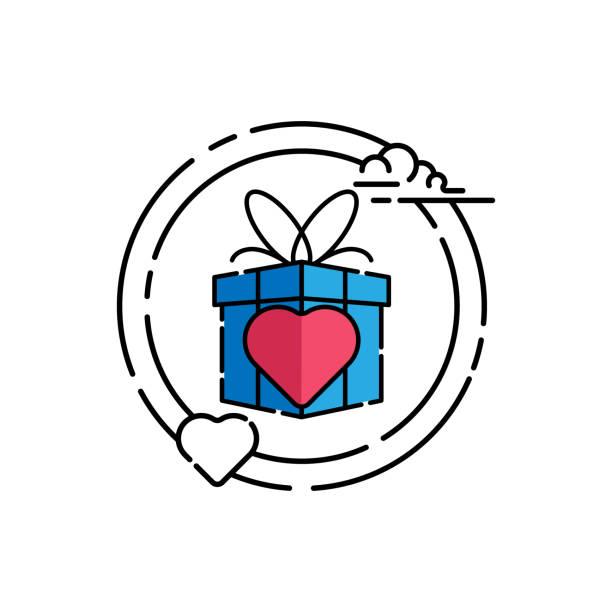 stockillustraties, clipart, cartoons en iconen met geschenk doos pictogram geïsoleerd op witte achtergrond van event collection. - romantiek begrippen