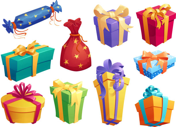 gift box icon of present packaging with ribbon bow - prezent na urodziny stock illustrations