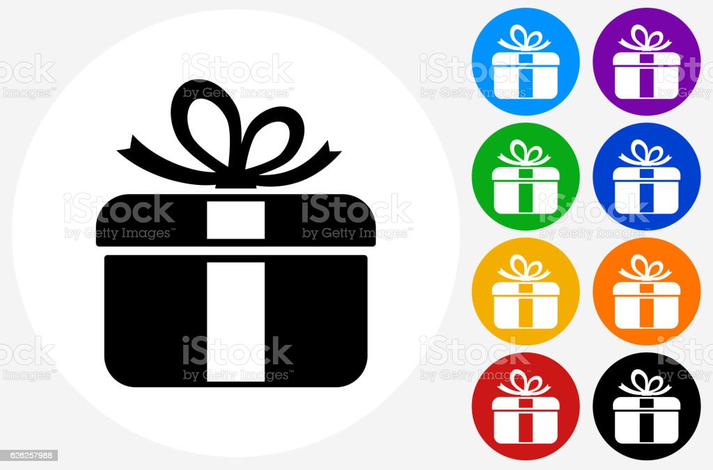 gift box icon on flat color circle buttons お祝いのベクターアート