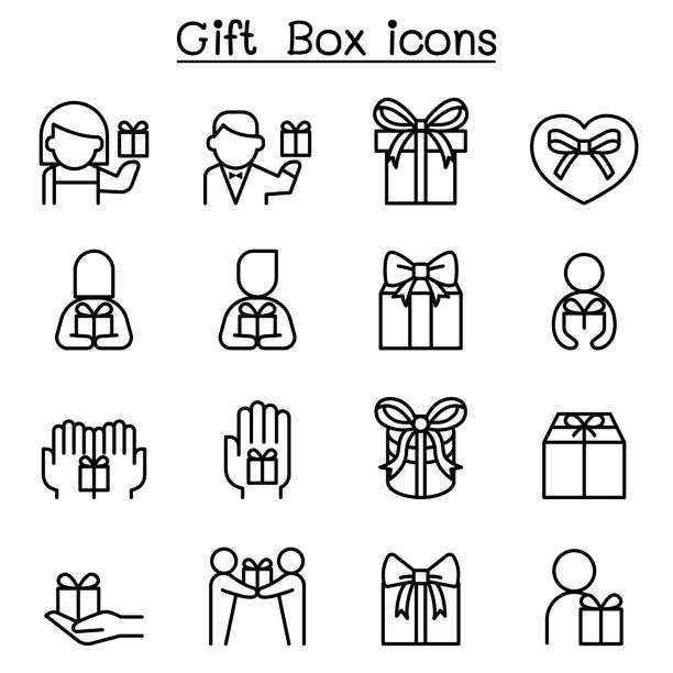 Gift box icon set in thin line style Gift box icon set in thin line style bonus march stock illustrations