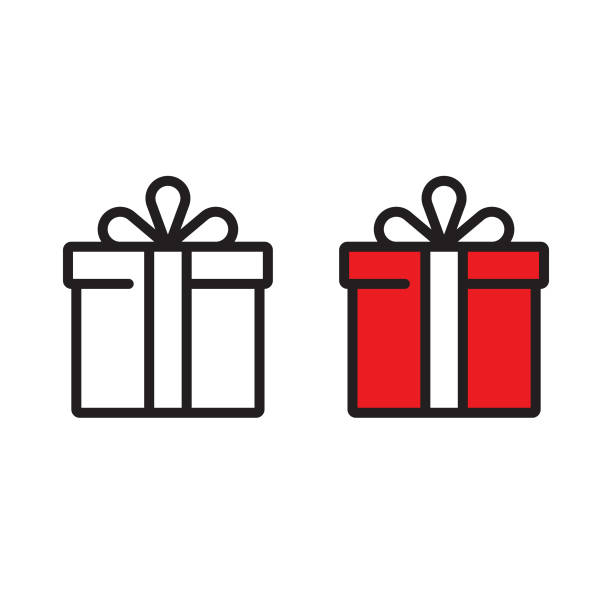 gift box icon vector design. - gift stock illustrations