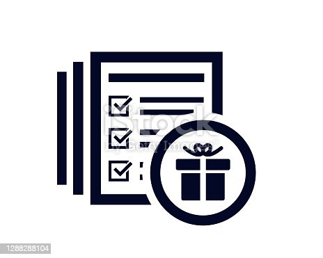 Gift box icon with document list with tick check marks vector illustration.