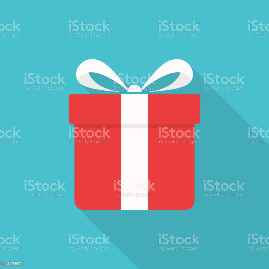 Gift box icon with long shadow on blue background, flat design style