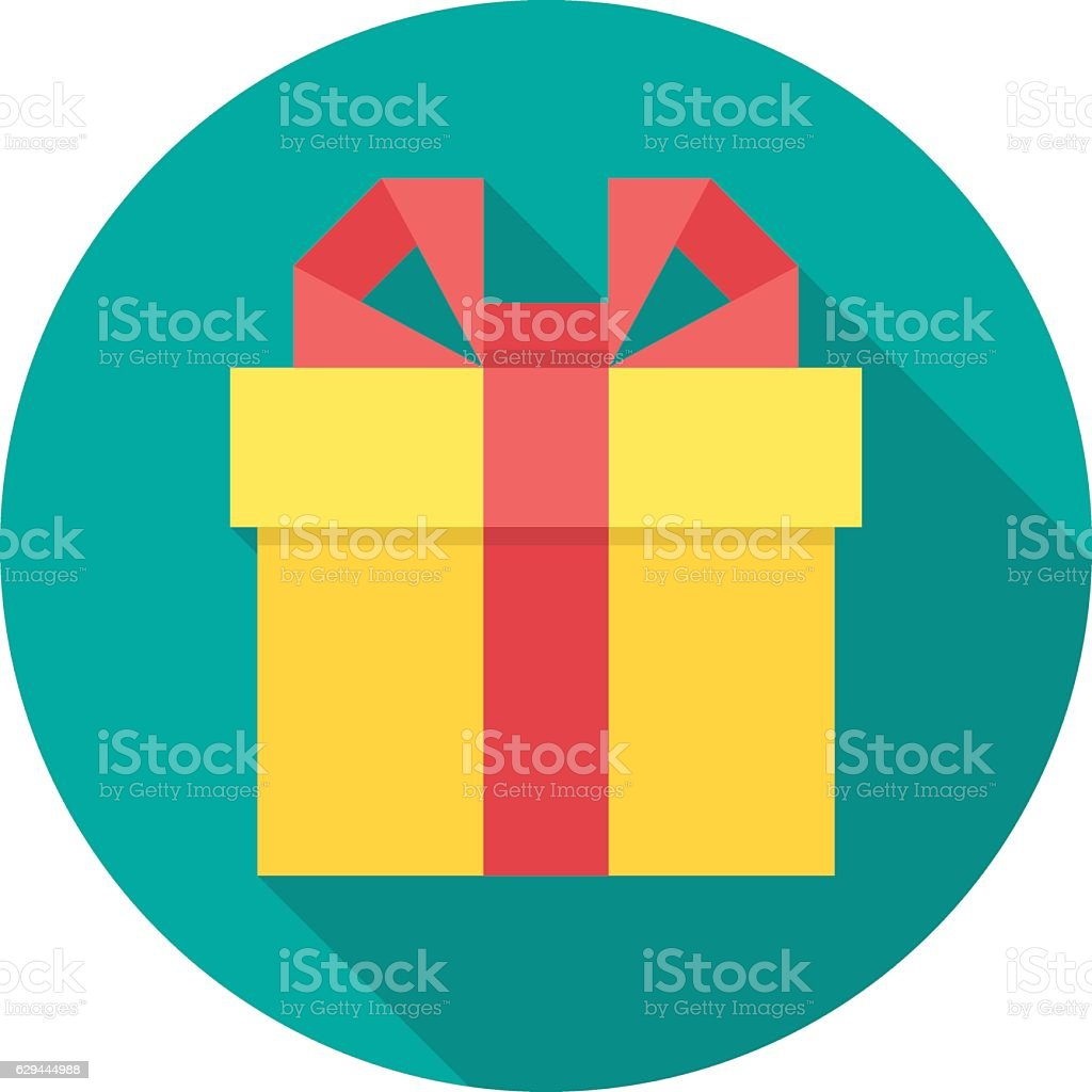Gift box icon with long shadow. vector art illustration