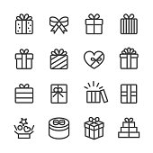 Gift Box Icons - Line Series