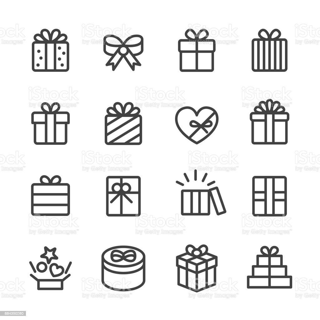 Regalo caja iconos - serie - ilustración de arte vectorial