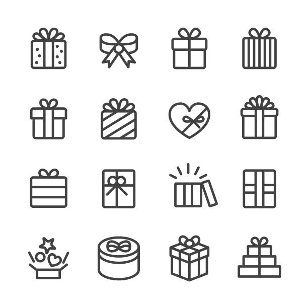 gift box icons - line series - papier do pakowania stock illustrations
