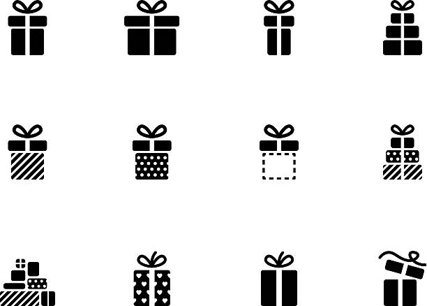 Gift box icons on white background. vector art illustration
