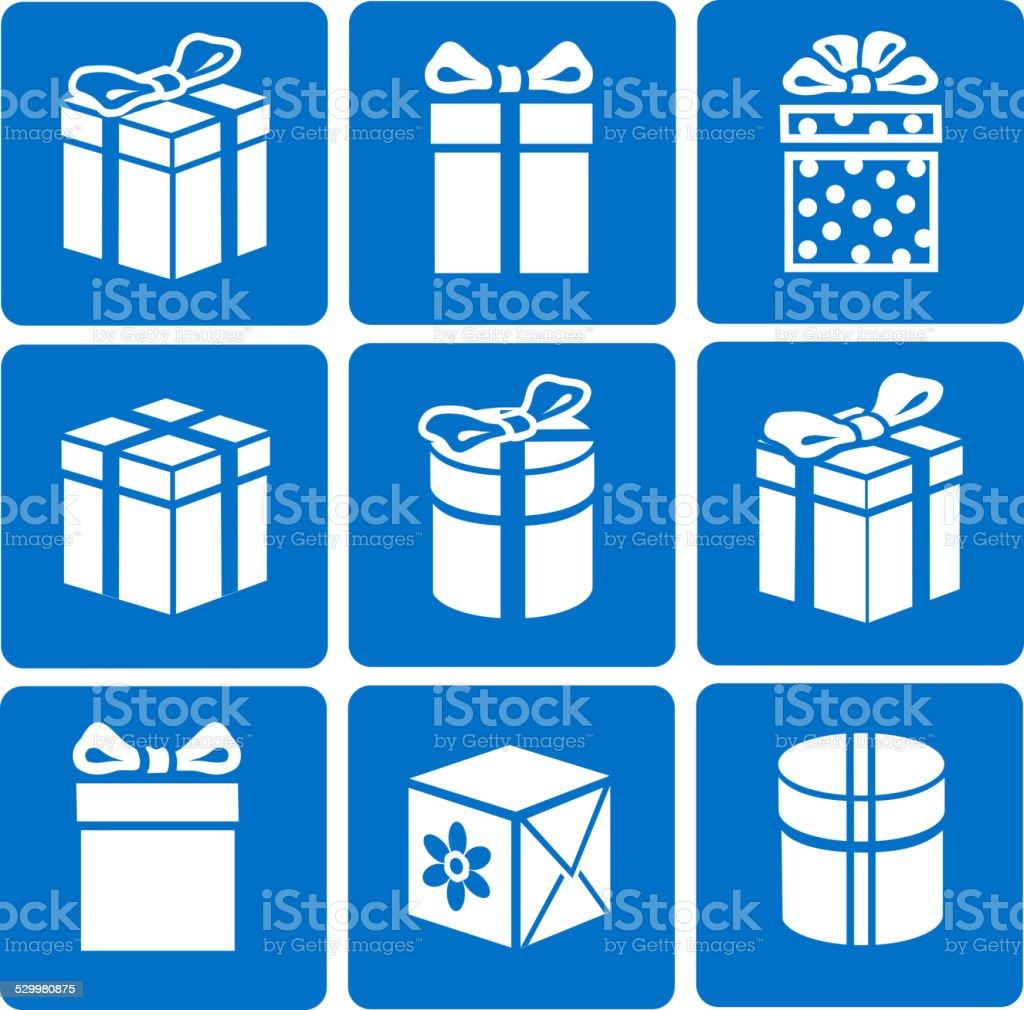 Gift box icons set on blue background vector vector art illustration