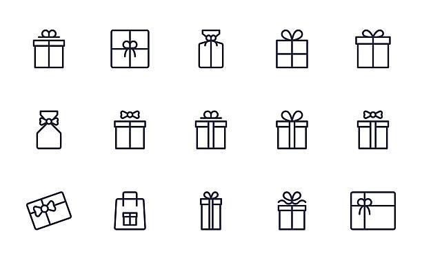 ikony pola upominkowego ustawiają styl konturu - gift stock illustrations