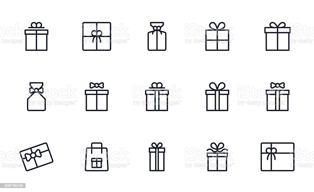 Gift box icons set outline style vector art illustration