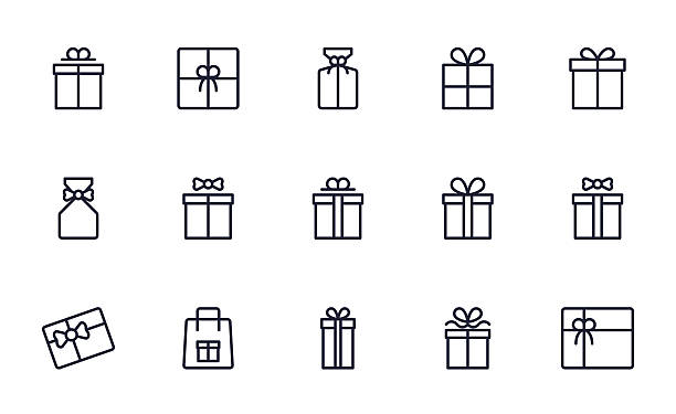 gift box icons set outline style - 선물 stock illustrations