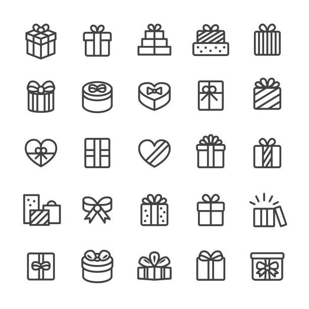 ilustrações, clipart, desenhos animados e ícones de ícones da caixa de presente-série esperta da linha - presente