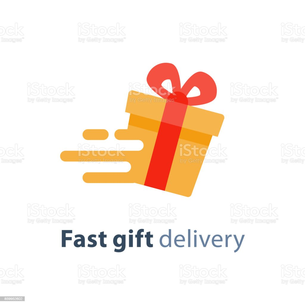 Gift box in motion icon, fast gift delivery service, present quick solution, vector illustration vector art illustration