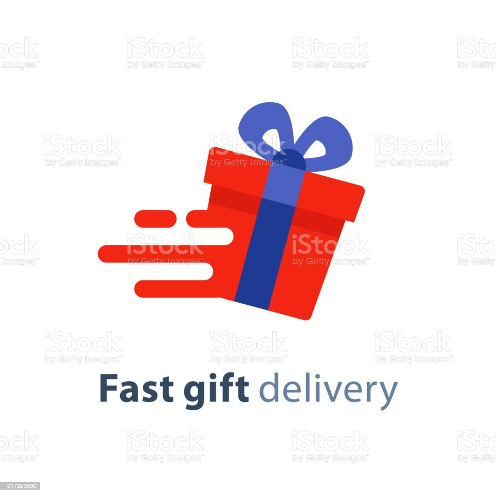 Gift Box In Motion Icon Fast Delivery Service Present Quick Solution Vector