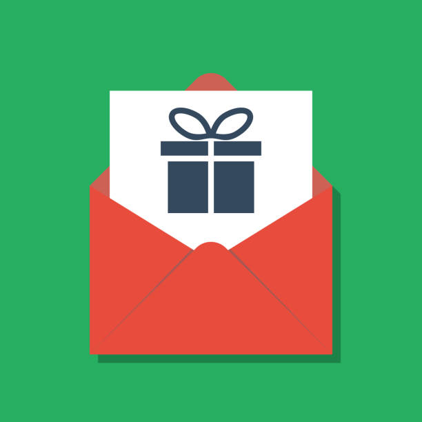 gift box in opened red xmas envelope, secret santa concept - secret santa messages stock illustrations