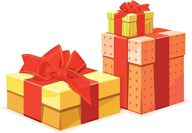 geschenk-box in baum farbe versionen - vakuumverpackung stock-grafiken, -clipart, -cartoons und -symbole