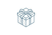 gift box isometric icon. 3d vector illustration. Isolated line art technical drawing. Editable stroke