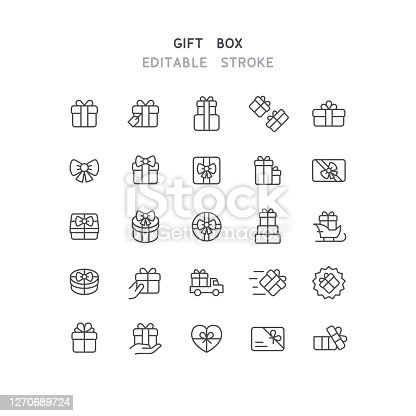 Set of gift box line vector icons. Editable stroke.