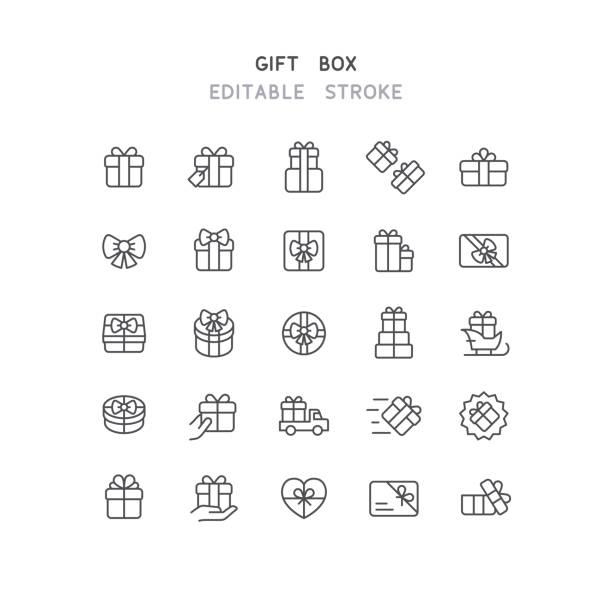 gift box line ikony edytowalne obrys - gift stock illustrations