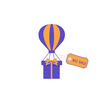 Gift box on a parachute with a label. Illustration