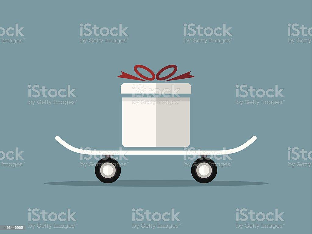 gift box on skateboard vector created vector art illustration