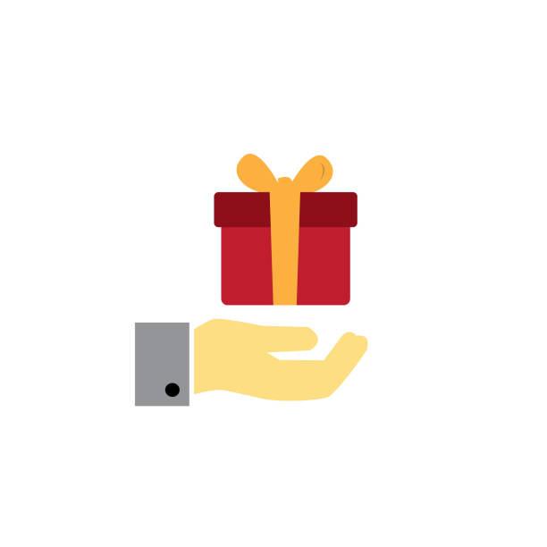 geschenk-box oder gegenwärtige geben nächstenliebe vektor icon in farbe - swag stock-grafiken, -clipart, -cartoons und -symbole
