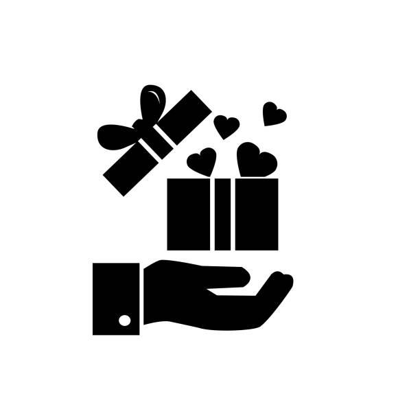 geschenk-box oder gegenwärtige geben vektor icon, offener kasten mit herzen - swag stock-grafiken, -clipart, -cartoons und -symbole