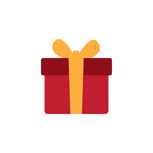 geschenk-box oder vorliegenden vektor icon in farbe rot - swag stock-grafiken, -clipart, -cartoons und -symbole