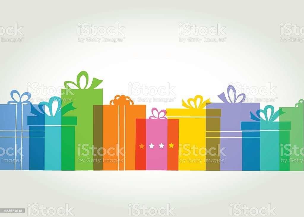 Gift box or Present Colourful overlapping silhouettes of gift boxes. EPS10 file best in RGB. CS5 version in zip  Bag stock vector