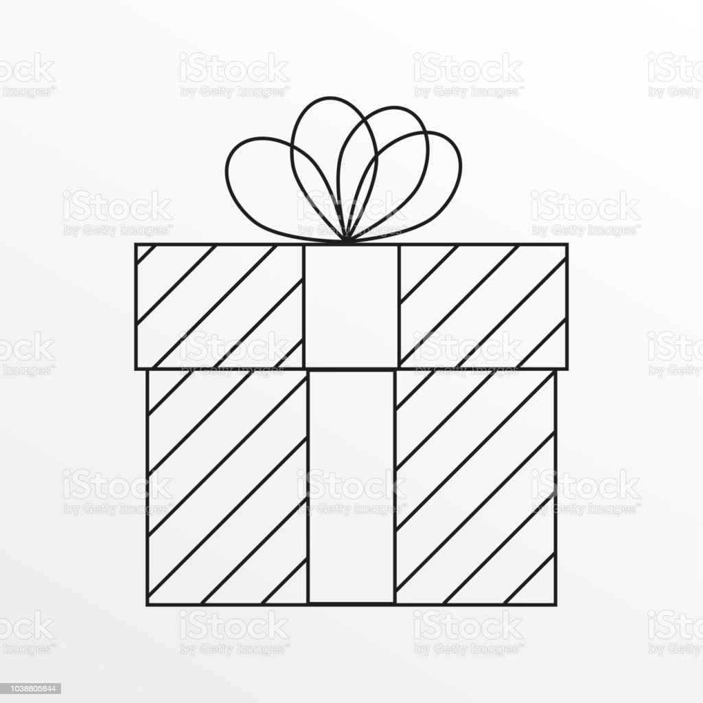 Christmas Gift Box Drawing.Gift Box Outline Icon Christmas Present Design Vector Illustration Stock Illustration Download Image Now