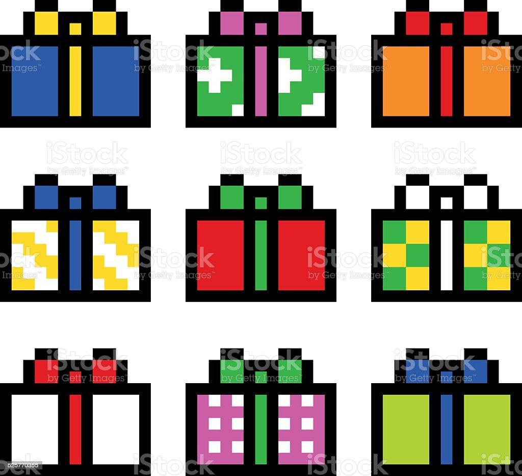 Coffret Cadeau Pixel Art Vecteurs Libres De Droits Et Plus D