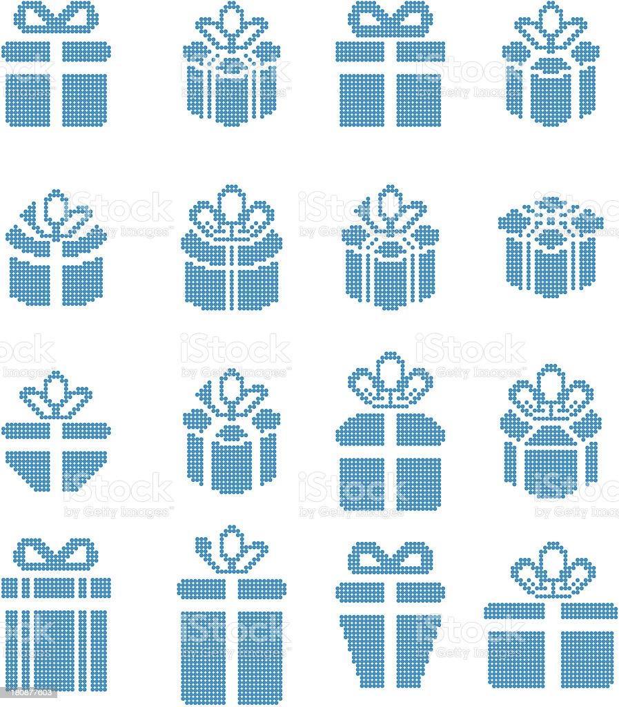 Pixel Art Noel Cadeau.Icônes De Pixel Boîte De Cadeau De Noël Cadeaux Vecteurs