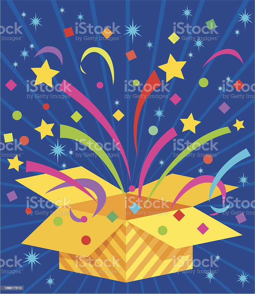 Gift box pops open with confetti royalty-free stock vector art