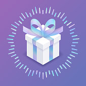 Gift box isometric present with shiny holographic foil ribbon and bow.
